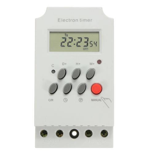 DIGITAL WEEKLY HOURLY PROGRAMMABLE ELECTRONIC TIMER SOCKET AC 220V 25A