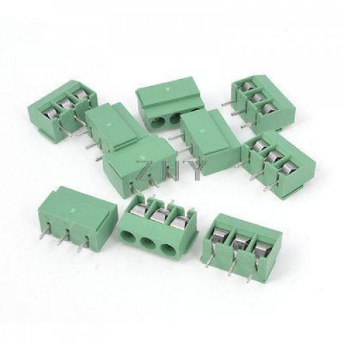 10 PCS x 3 PIN 5mm PITCH TERMINAL BLOCK PCB CONNECTORS AC 300V 10A