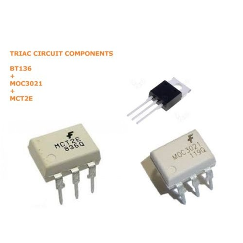 3PCS LOT X TRIAC BT136 + OPTOCOUPLER MOC3021 + MCT2E