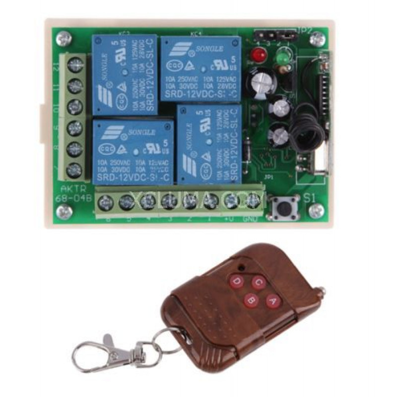 4 CHANNEL RF WIRELESS REMOTE CONTROL RECEIVER DC 12V RELAY SELF LEARNING