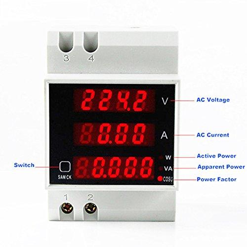AC 80V to 300V AC 100Amp Digital AC Voltmeter Ammeter Power Meter apprent Meter Power Factor 5 in 1 DIN Rail Single Phase