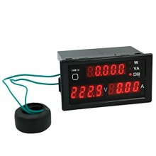 Multi Functional AC 80V to 300V LED Voltmeter Ammeter with Active and Apparent Power and Power Factor 5 in 1 Single Phase