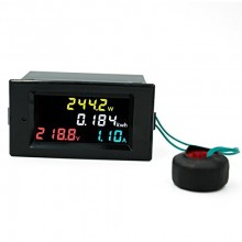 AC 80V - 300V 100A Single Phase 4 in 1 AC Voltmeter Ammeter Power Energy Meter Kwh Color Screen LED Display Single Phase