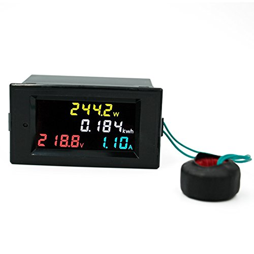 AC 200V - 450V 100A Three Phase 4 in 1 AC Voltmeter Ammeter Power Energy Meter Kwh Color Screen LED Display Single Three Phase