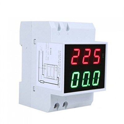 AC 200V to 450V AC 100Amp Digital AC Voltmeter Alternationg Voltage Current Meter DIN Rail Single Three Phase