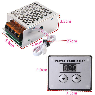 4000 Watt 220V AC SCR Voltage Regulator Dimmer Electric Motor Speed Controller with Display and Button