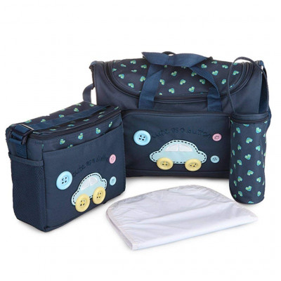 Baby Diaper Nappy Changing Baby Diaper Bag Mother Bag Mummy Bag Handbag (4 Pcs Set -Dark Blue)