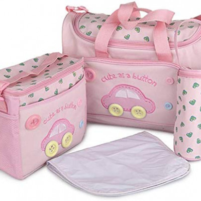 Baby Diaper Nappy Changing Baby Diaper Bag Mother Bag Mummy Bag Handbag (4 Pcs Set- Pink)
