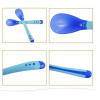 Baby Safety Silicone Temperature Sensing Spoon and Fork Set Baby Feeding Kids Feeding -Blue