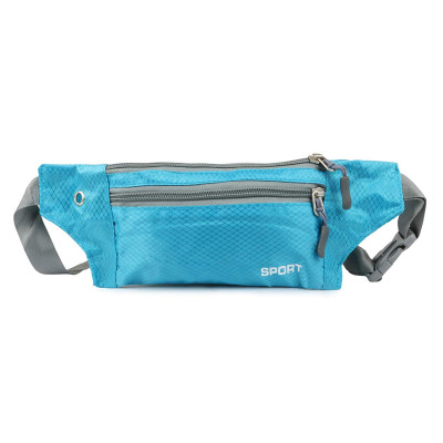 Mens and Womens Polyester Pouch Sport Bum Waist Bag Chest Shoulder Pack Travel Handy Wallet Belt Zip Running Hiking Waterproof Outdoor (Sky Blue)