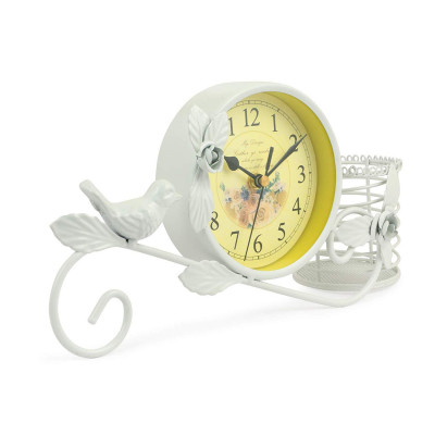 Metal Bird Clock Vintage Home Decoration Handwork Garden Table Clock with Pen Pot Holder (White)