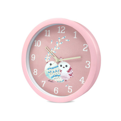 8 Inches 20Cm Wall Clock Kids Room, Girls Room, Home, Living Room, Bedroom, Smooth Movement Baby Pink