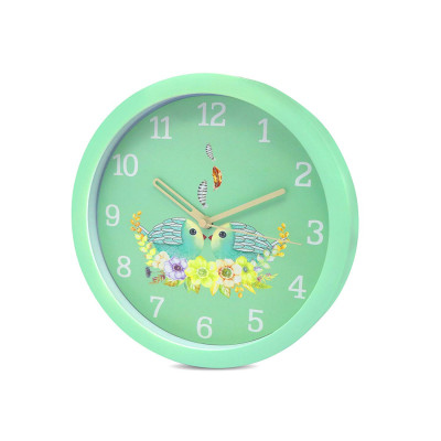 8 Inches 20Cm Wall Clock Kids Room, Girls Room, Home, Living Room, Bedroom, Smooth Movement Parrot Green