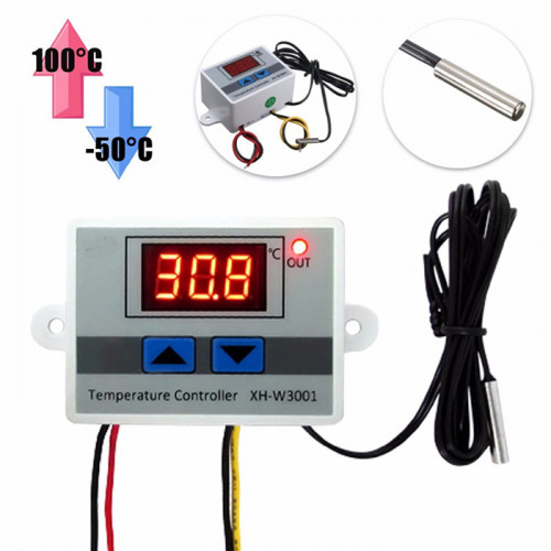 xh-w3001 temperature controller w3001 Incubator Thermostat Control Probe, Incubator Temperature Controller (220V AC Input Voltage)