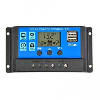 USB Solar Charge Controller Regulator 12V / 24V Auto Switch with LCD Display (30 Amp)
