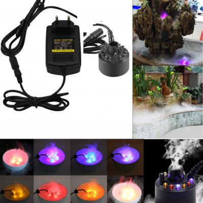 24V 12 LED With Adapter Color Changing Ultrasonic Mist Maker Fogger for Water Fountain Incubators Air Humidifier