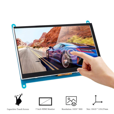 7 Inch Capacitive Touch Screen IPS TFT LCD Display HDMI 1024x600 Resolution for Raspberry Pi 3/2/Model 3B+