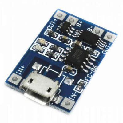 MICROUSB 5V 18650 LITHIUM BATTERY 1A CHARGING MODULE w TP4056 PROTECTION