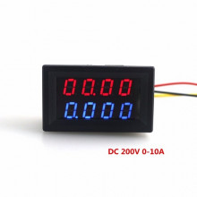 Digital 4 Bit DC 200V 0-10A Voltmeter Ammeter Panel Red Blue LED Dual Display