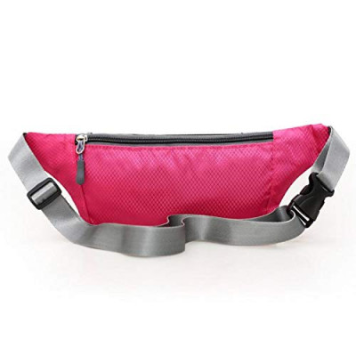 Men Women Unisex Pouch Sport Bum Waist Bag Chest Shoulder Pack Travel Handy Wallet Belt Zip Running Hiking Waterproof Outdoor (Pink)