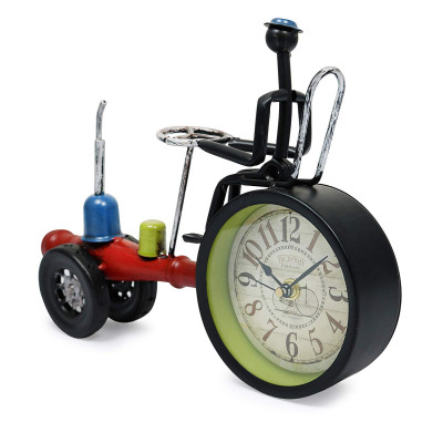 Table Clock Office Art Metal Clock Tractor Shape Red