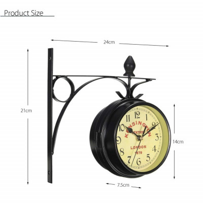 Vintage Decorative Double Sided Metal Wall Clock Antique Style Station Wall Clock Wall Hanging Clock Small 14cm Dial - Black