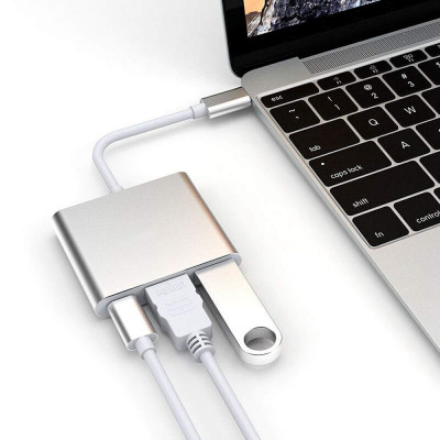 Type C to 4K HDMI USB 3.0 USB-C 3.1 Charging Cable Adapter Converter for MacBook Samsung Android (Metal Silver)