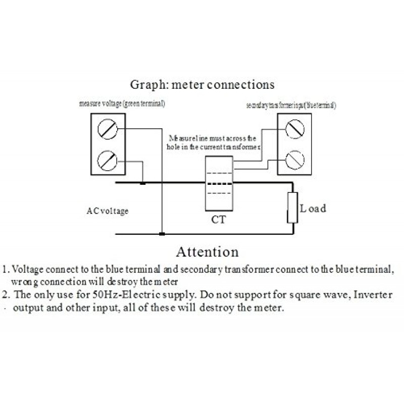 AC 80V - 300V 100A Single Phase 4 in 1 AC Voltmeter Ammeter Power