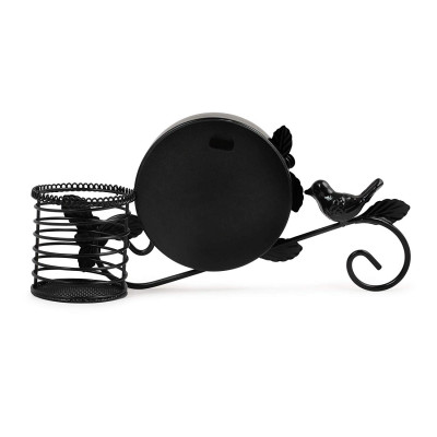 Metal Bird Clock Vintage Home Decoration Handwork Garden Table Clock with Pen Pot Holder (Black)