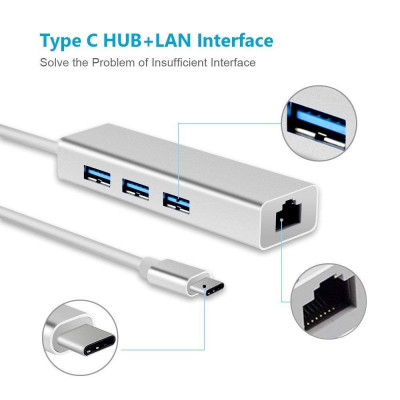 Type C RJ45, USB 3.0 HUB Type C to RJ45 Ethernet Gigabit LAN with 3 Ports USB Adapter for Mac MacBook and Other(Metal Silver)