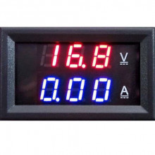 DIGITAL VOLTMETER AMMETER DC 0-100V 10A DUAL LED RED BLUE MONITOR PANEL