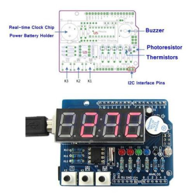 Real Time Clock Shield Digital Tube Module Thermal RTC TM1636 DS1307 For Arduino